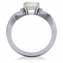 Twisted Oval Opal Engagement Ring 14k White Gold (1.19ct)