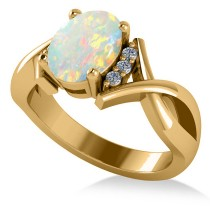 Twisted Oval Opal Engagement Ring 14k Yellow Gold (1.19ct)