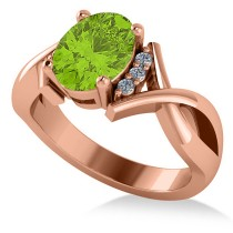 Twisted Oval Peridot Engagement Ring 14k Rose Gold (2.09ct)