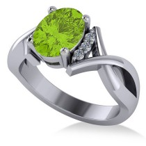 Twisted Oval Peridot Engagement Ring 14k White Gold (2.09ct)