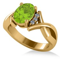 Twisted Oval Peridot Engagement Ring 14k Yellow Gold (2.09ct)