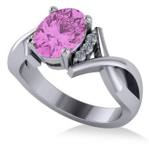 Twisted Oval Pink Sapphire Engagement Ring 14k White Gold (2.29ct)