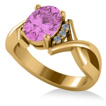 Twisted Oval Pink Sapphire Engagement Ring 14k Yellow Gold (2.29ct)