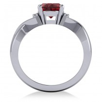 Twisted Oval Ruby Engagement Ring 14k White Gold (2.29ct)