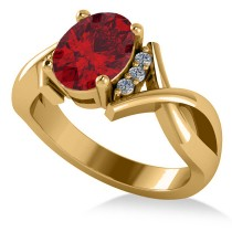 Twisted Oval Ruby Engagement Ring 14k Yellow Gold (2.29ct)