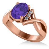 Twisted Oval Tanzanite Engagement Ring 14k Rose Gold (2.29ct)