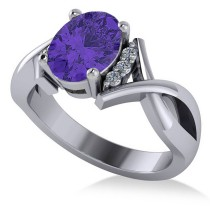 Twisted Oval Tanzanite Engagement Ring 14k White Gold (2.29ct)
