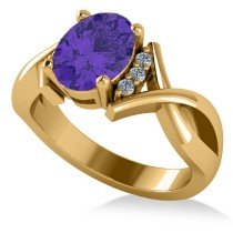 Twisted Oval Tanzanite Engagement Ring 14k Yellow Gold (2.29ct)
