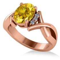 Twisted Oval Yellow Sapphire Engagement Ring 14k Rose Gold (2.29ct)