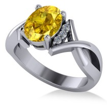 Twisted Oval Yellow Sapphire Engagement Ring 14k White Gold (2.29ct)