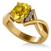 Twisted Oval Yellow Sapphire Engagement Ring 14k Yellow Gold (2.29ct)