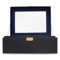 Women's Large Faux Leather Jewelry Box w/ Mirror Lock 2 Lift-Out Trays