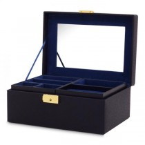 Women's Faux Leather Small Jewelry Box w/ Mirror Lock 2 Lift-Out Trays