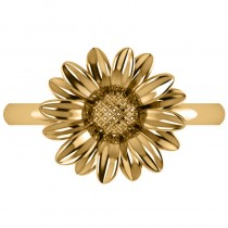 Multilayered Daisy Flower Fashion Ring 14k Yellow Gold