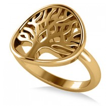Family Tree of Life Fashion Ring 14k Yellow Gold