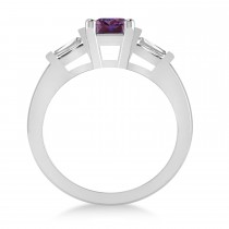 Lab Alexandrite & Diamond Three-Stone Emerald Ring 14k White Gold (1.85ct)