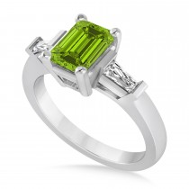 Peridot & Diamond Emerald Baguette Air Line Ring 14k White Gold (1.85ct)
