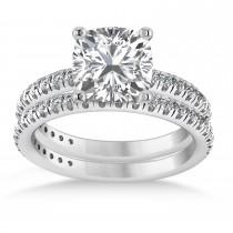 Moissanite & Diamond Cushion-Set Semi-Eternity Bridal Set 14K White Gold (2.77ct)