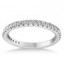 Diamond Semi-Eternity Ring Wedding Band 18k White Gold (0.41ct)