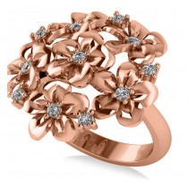 Diamond Accented Flower Bouquet Fashion Ring 14k Rose Gold (0.22ct)