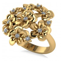 Diamond Accented Flower Bouquet Fashion Ring 14k Yellow Gold (0.22ct)