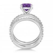 Amethyst & Diamond Round-Set Semi-Eternity Bridal Set 18k White Gold (2.42ct)