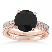 Black & White Diamond Round-Set Semi-Eternity Bridal Set 18k Rose Gold (2.62ct)