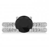 Black & White Diamond Round-Set Semi-Eternity Bridal Set Platinum (2.62ct)