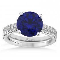 Blue Sapphire & Diamond Round-Set Semi-Eternity Bridal Set Palladium (2.92ct)