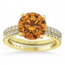 Citrine & Diamond Round-Set Semi-Eternity Bridal Set 18k Yellow Gold (2.42ct)