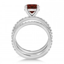 Garnet & Diamond Round-Set Semi-Eternity Bridal Set Platinum (3.12ct)