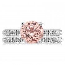 Morganite & Diamond Round-Set Semi-Eternity Bridal Set Palladium (2.37ct)