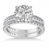 Moissanite & Diamond Round-Set Semi-Eternity Bridal Set 18k White Gold (2.22ct)