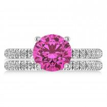 Pink Tourmaline & Diamond Round-Set Semi-Eternity Bridal Set 18k White Gold (2.62ct)