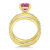 Pink Tourmaline & Diamond Round-Set Semi-Eternity Bridal Set 18k Yellow Gold (2.62ct)