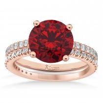 Ruby & Diamond Round-Set Semi-Eternity Bridal Set 18k Rose Gold (2.92ct)