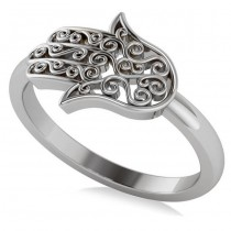 Hand of God Hamsa Swirl Design Spiritual Fashion Ring 14k White Gold