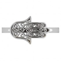 Hand of God Hamsa Swirl Design Spiritual Fashion Ring 14k White Gold