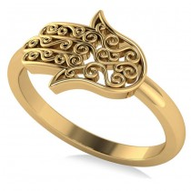 Hand of God Hamsa Swirl Design Spiritual Fashion Ring 14k Yellow Gold