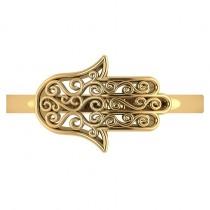 Hand of God Hamsa Swirl Design Spiritual Fashion Ring 14k Yellow Gold