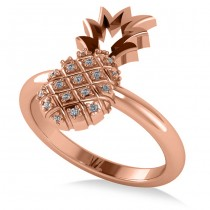 Diamond Accented Pineapple Fashion Ring 14k Rose Gold (0.10ct)