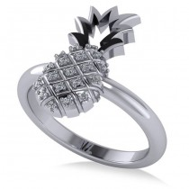 Diamond Accented Pineapple Fashion Ring 14k White Gold (0.10ct)