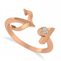 Elegant Nautical Anchor Center Ring Solitaire Diamond 14k Rose Gold