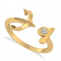 Elegant Nautical Anchor Center Ring Solitaire Diamond 14k Yellow Gold