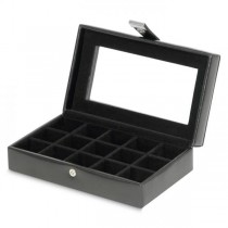 WOLF Heritage Men's Black Faux Leather Jewelry Box with Glass Top for Home or Travel