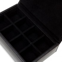 Men's Black Faux Leather Travel Jewelry Organizer w/ 8 Compartments