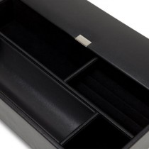 WOLF Heritage Black Faux Leather Valet Tray with 1 Covered and 5 Open Compartments