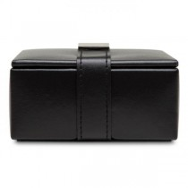Wolf Heritage Men's Black Faux Leather Travel Jewelry Organizer with 4 Compartments