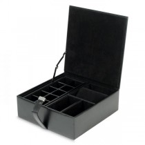 Wolf Heritage Men's Black Faux Leather Jewelry Box with Removable Travel Watch Case