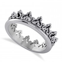 Inverted Heart Crown Ring 14k White Gold